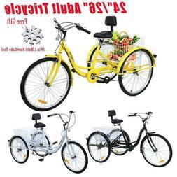 """Ridgeyard 12/24/26"""" Adult 3-Wheel 7-Speed Tricycle Trike Bic"""