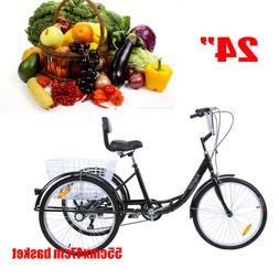 Ridgeyard 24inch Adult Tricycle 3-Wheel Shimano 7 Speed Bicy