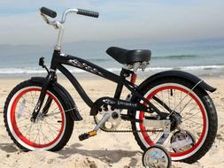 "16"" Boy's Beach Cruiser Bike Black w/Red Rims Training Wheel"