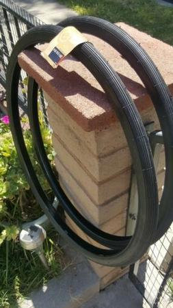 2 New S6 Tires 26 X 1 3/8 / 1 1/4 Black Wall fits Schwinn S6