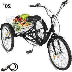 "20"" Adult Tricycle 3-Wheel 1 Speed Bicycle Trike Cruiser Bla"