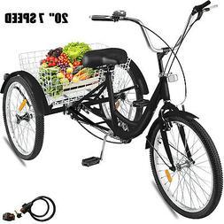 "20"" Adult Tricycle 3-Wheel 7 Speed Bicycle Trike Cruiser w/"