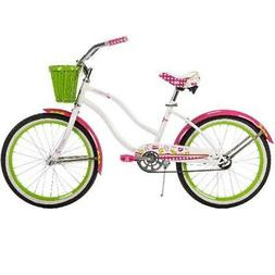 "Huffy 20"" Cranbrook Girls Cruiser Bike with Basket, White"
