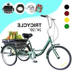 "24""/20"" Adult Tricycle 3-Wheel Trike Cruiser Bicycle w/Baske"