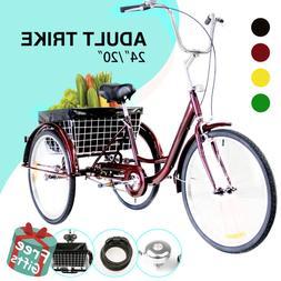 "24""/20"" Adult Tricycle Trike 3-Wheel Cruiser Bike w/Basket f"