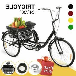 """24""""/20"""" Adult Tricycle Trike Cruiser Bike w/Basket Liner& Lo"""