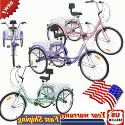 "24"" 7-Speed 3-Wheel Adult Tricycle Trike Cruiser Bike Cargo"
