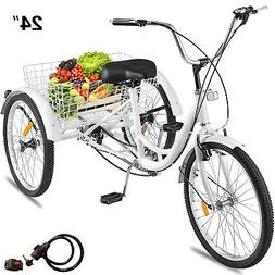 "24""Adult Tricycle 3-Wheel 1Speed Bicycle Trike Cruiser w/Too"