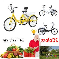 """24"""" Adult Tricycle 3-Wheel 7 Speed Bicycle Trike Cruiser Bas"""