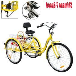 """Ridgeyard 24"""" Adult Tricycle 3-Wheel 7-Speed Bicycle Trike B"""