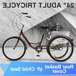 "24"" Adult Tricycle 3-Wheel Cruiser Bike w/Basket for shoppin"
