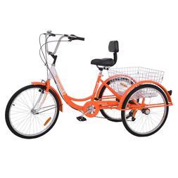 """24"""" Adult Tricycle 3-Wheel Shimano 7 Speed Bicycle Trike Cru"""