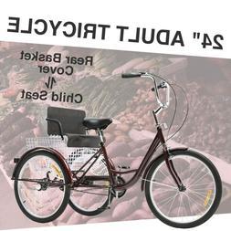 "24""Adult Trike 3-Wheel Bike Cruiser w/Basket for Shopping Hi"