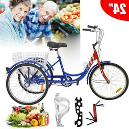 "24"" Bicycle For Height 5'3""-6'1"" Trike Cruiser Bike 7Speeds"