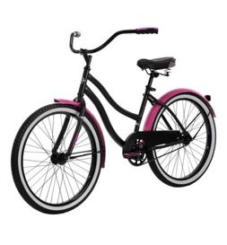 "HUFFY 24"" CRANBROOK CRUISER BIKE NEW IN BOX Black/pink"