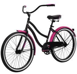 "Huffy 24"" Cranbrook Girls Cruiser Bike for Women, Pink / Bla"