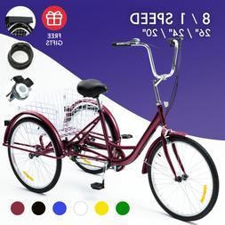 "26""/24""/20"" 1/8 Speed Tricycle Trike 3-Wheel Cruiser Bike w/"