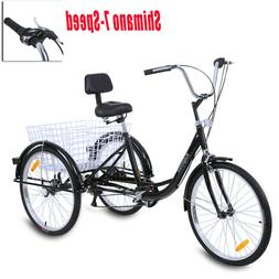 "Ridgeyard 26"" 3-Wheel Shimano 7-Speed Adult Tricycle Trike B"