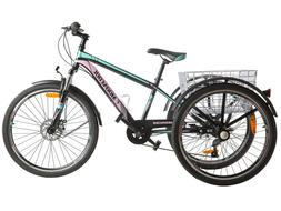 "26"" 7 Speed Adult Mountain Trike 3Wheel Cruiser Bike Exercis"