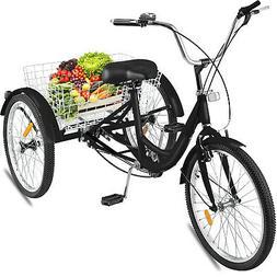 26 Adult Tricycle 3-Wheel 1 Speed Bicycle Trike Cruiser Bask