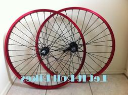 """26"""" Bicycle Alloy WheelSet Red With 12G Heavy Duty Black Spo"""