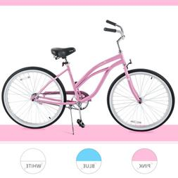 "26"" Classic Girl's Beach Cruiser Bike Single Speed Road Bicy"