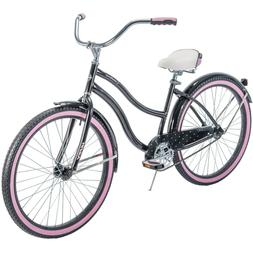 "Huffy Cranbrook 26"" Women's Cruiser Bike - Black/Pink With P"