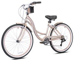 Kent 26 inch Bayside Cruiser Bike - Rose Gold - Assembly Req