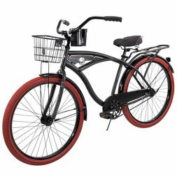 "HUFFY 26"" NEL LUSSO CRUISER BIKE BLACK WITH BASKET BRAND N"