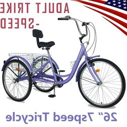 "26"" Pro 7Speed Tricycle Beach Cruiser Trike Pedal 3Wheel Bik"
