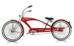 "RED 26"" Stretch Beach Cruiser Bicycle 68 Spokes Rims Coaster"