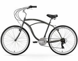 "26"" Urban Man 26"" 21 Speed Beach Cruiser Bicycle Gray"