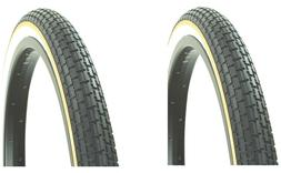 "2Pcs Bicycle Tire 16"" x 1.75 Yellow-Line Cruiser Lowrider  B"