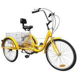 """Ridgeyard 7-Speed 24"""" 3 Wheel Adult Bicycle Tricycle Trike C"""