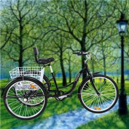 "7-Speed Adult 26"" 3-Wheel Tricycle Trike Bicycle Cruise Alum"