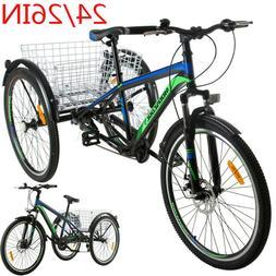 "Adult 24/26"" Mountain Tricycle 7 Speed 3 Wheel Bike Cruiser"