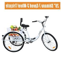 """Ridgeyard Adult 26"""" 3-Wheel 7-Speed Tricycle Trike Bicycle B"""