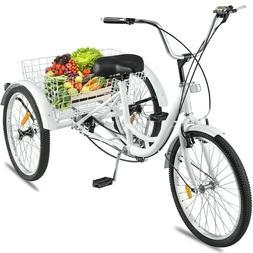 "White 24"" Adult Tricycle 3-Wheel 7 Speed Bicycle Trike Cruis"