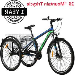 "Adult Mountain Tricycle 7Speed 26"" 3Wheel Cruiser Trike spor"