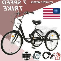 Adult Tricycle 20'' 1-Speed 3 Wheel Yellow Trike Bike Shoppi