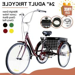 "Adult Tricycle Trike 24"" 3-Wheel Cruiser Bike w/Liner, Combo"