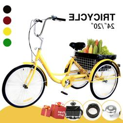 "Adult Tricycle Trike 3-Wheel Bike Cruiser 24""/20"" w/Basket,"