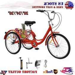 7 Speed Adult Tricycles 3-Wheel Trike Bike Cruiser  Cargo Ba