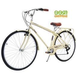 Aluminum Cruiser Bike 700C Men Bicycle Shimano Rear Rack Bei