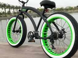 Aluminum Fat Tire Bike Beach Cruiser 🌴SIKK 7 SPED FLAT BL