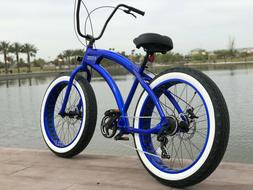 Aluminum Fat Tire Bike Beach Cruiser 🌴SIKK 7 SPEED ELECTR