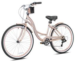 "Kent Bayside 26"" WOMEN'S Cruiser Bike, Rose Gold, 7 SPEED"