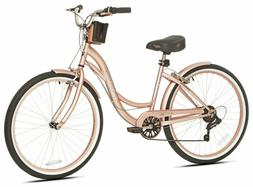 "Beach Cruiser Bike Women's 26"" Rose Gold Hybrid Low Step-t"