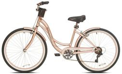 "Beach Cruiser Bike Women's 26"" Rose Gold Hybrid Low Step-t"