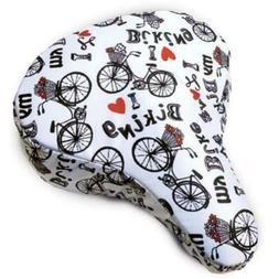 bicycle seat cover white black i love